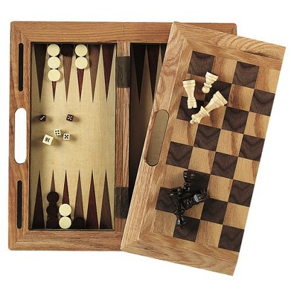 3-in-1 Wood Chess/Checkers/Backgammon Set