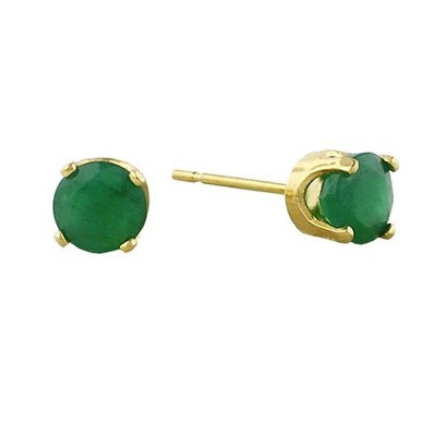 14K Yellow Gold 4MM Emerald Stud Earrings
