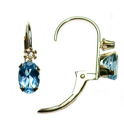 10K Yellow Gold Swiss Blue Topaz and Diamond Accent Leverback Earrings