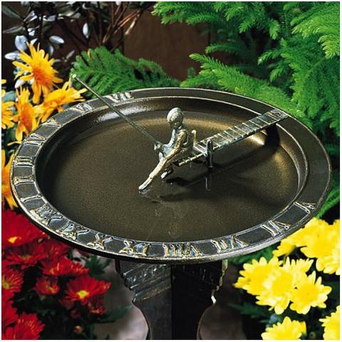 Fisherboy Sundial Birdbath - French Bronze