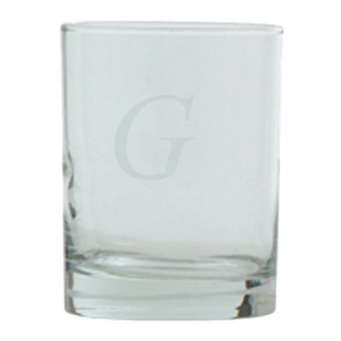 Block Monogram  Double Old Fashioned Set of 4