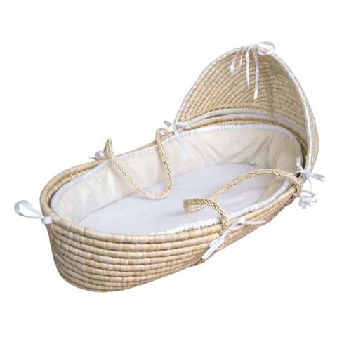 Badger Basket Hooded Moses Basket - Ecru Waffle