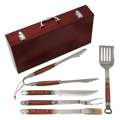 Premium Stainless Steel Barbecue Tool Set with Wood Case