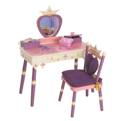 Levels of Discovery Princess Vanity Table and Chair Set - Pink/Purple