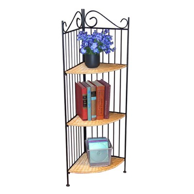 3 Tier Corner Metal and Wicker Shelf - 4D Concepts
