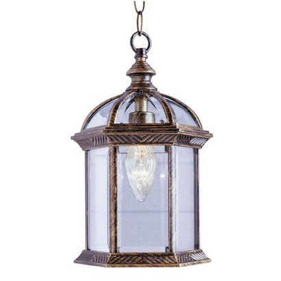 Beveled Glass 1 Light Hanging Lantern – Black Gold