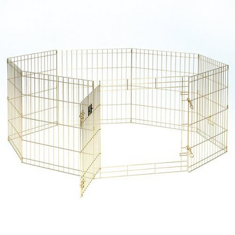 Gold 8 Panel Exercise Pen With Door