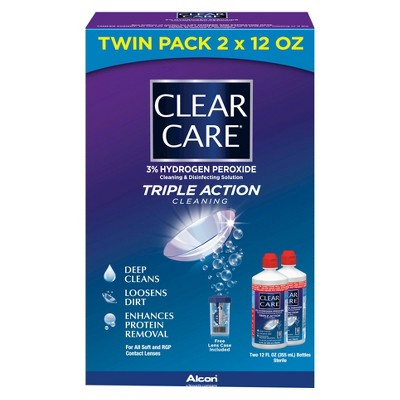 Clear Care Contact Lens Solution Includes CLEAR CARE Plus Twin Pack and CLEAR CARE Twin Pack