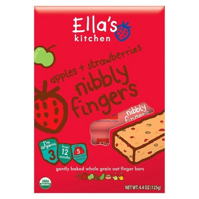 Ella's Kitchen Nibbly Fingers Ella's Kitchen Organic Nibbly Fingers, Mangoes + Carrots, 5 Count. Hello, I'm just yummy nibbly snack bars. I'm packed with organic fruits and whole grain oats and I don't have the tiniest trace of fruit concentrates or any refined sugars. I'm perfect for little ones' hands, mouths and tummies! My ingredients are suitable from 1 year. I come in individually wrapped bars - great for little ones on the go!  Warning: I'm not suitable for little people under 1 year old.