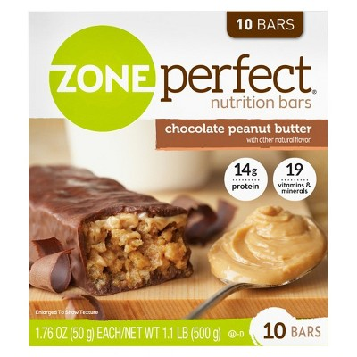 Zone Perfect Nutrition Bars There's a little zone where happiness and wellness come together. And we've created a nutrition bar that fits there perfectly. Zone perfect nutrition bars are delicious snacks with 10+ grams of protein, 19 vitamins & minerals and no artificial sweeteners or flavors.