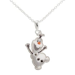 "Disney® Frozen Silver- Plated Olaf the Snowman Pendant- Multicolor (18"")"