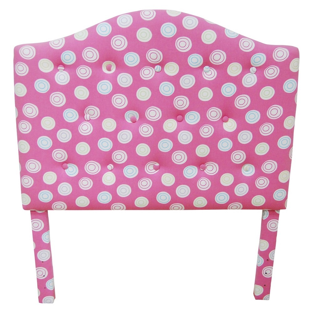 Tufted Pink Headboard White Dots