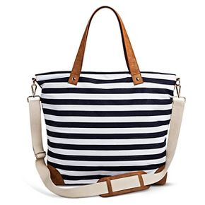 Women's Striped Canvas Tote Handbag with Removeable Crossbody Strap Navy/White - Merona™