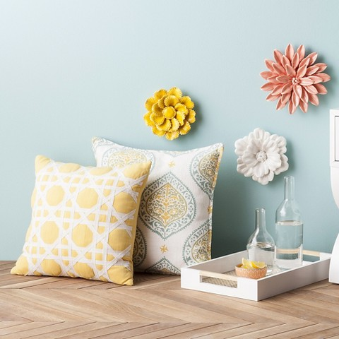 Threshold™ Cane Pattern Decorative Pillow - Yellow