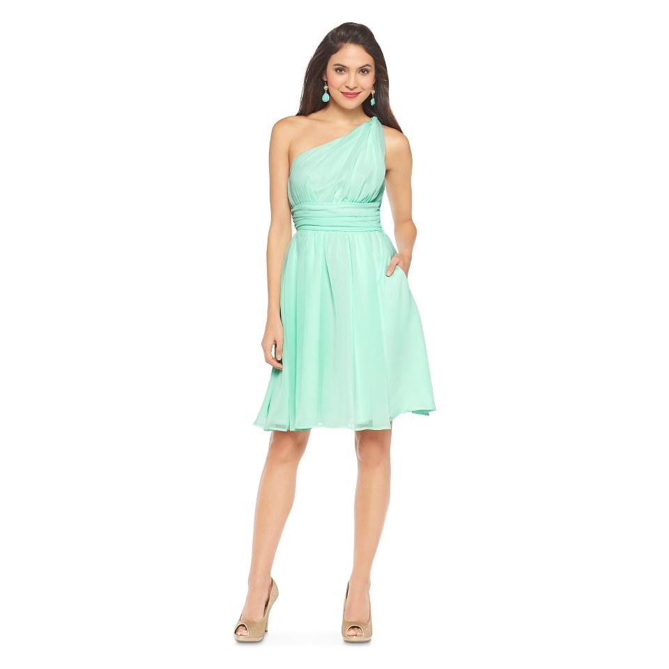 Womens Chiffon One Shoulder Dress Navy   Tevolio