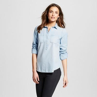 Merona Top Sz XS With 1/2 Button Denim Shirt Light Blue Womens