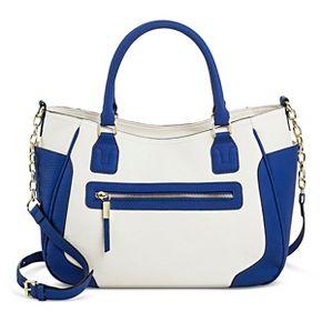Women's Faux Leather colorblock satchel with zipper pocket- Merona™