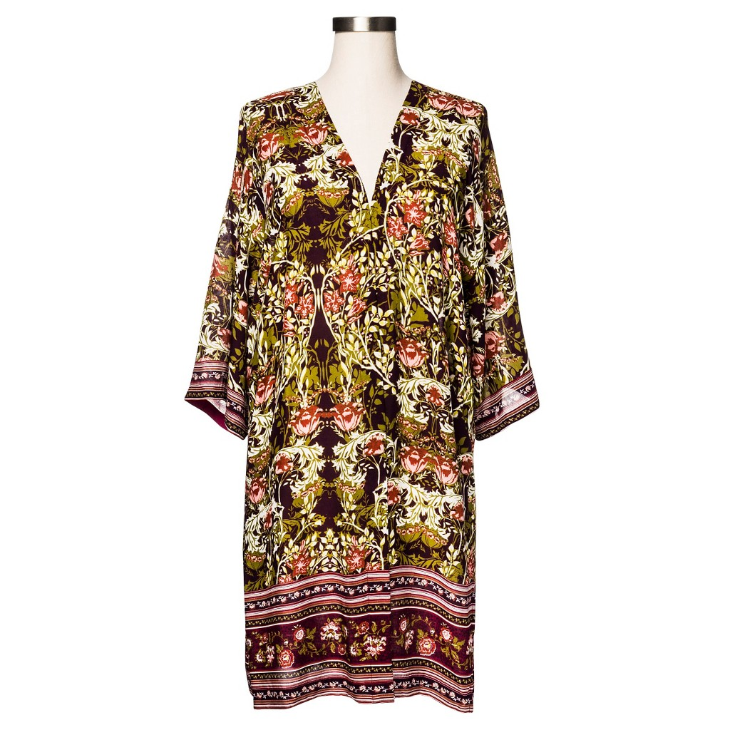 Target Women's Floral Kimono Jacket Purple/Green - Merona™